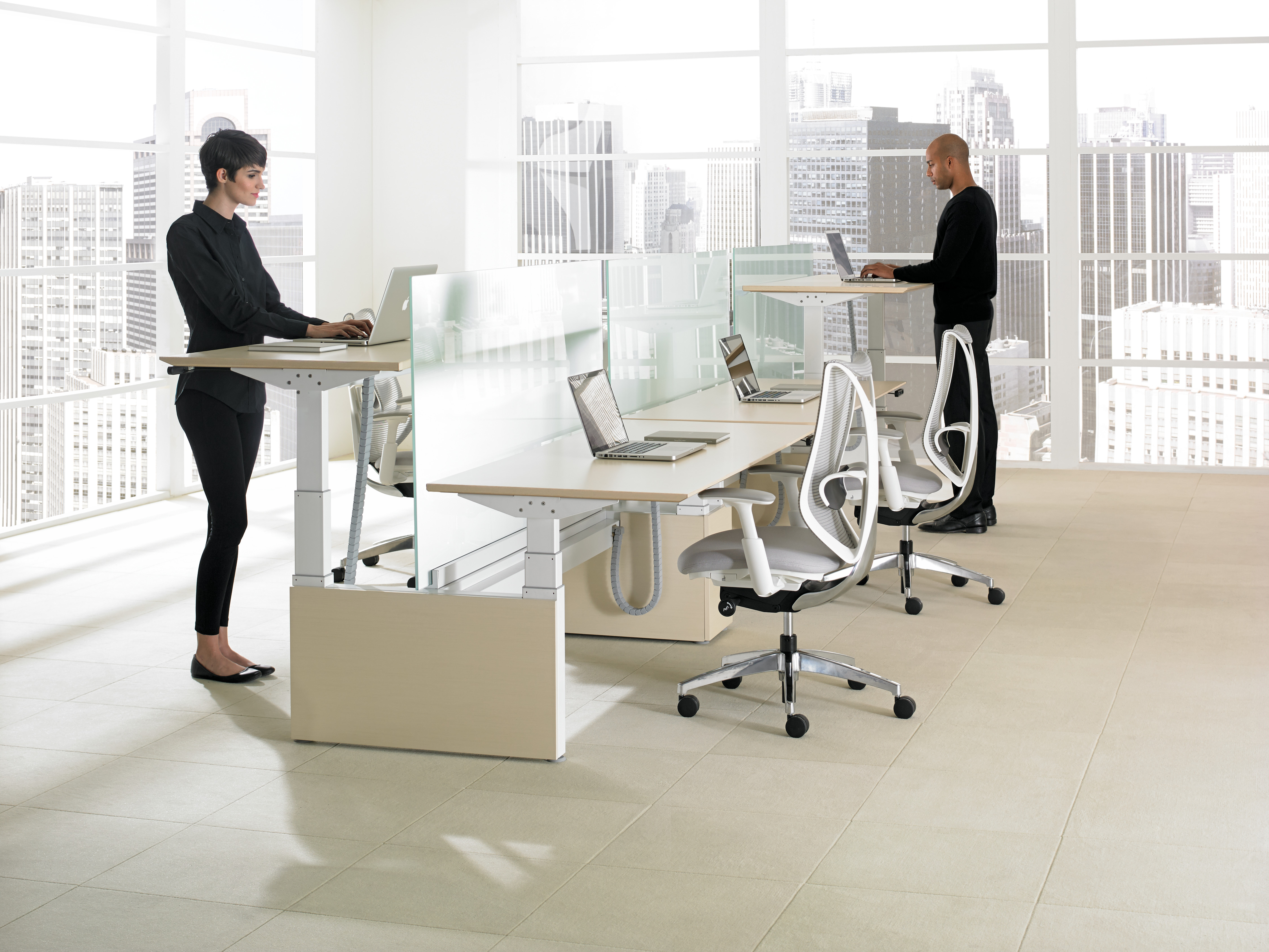 height adjustable open office workstations