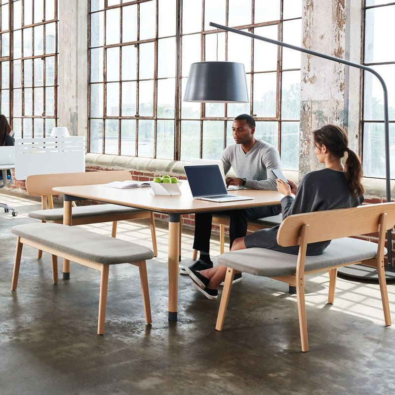 open meeting room table with benches