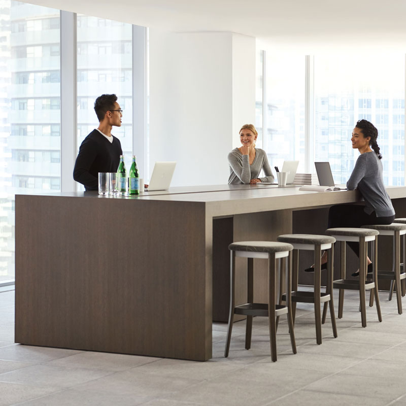 large office community table and stools