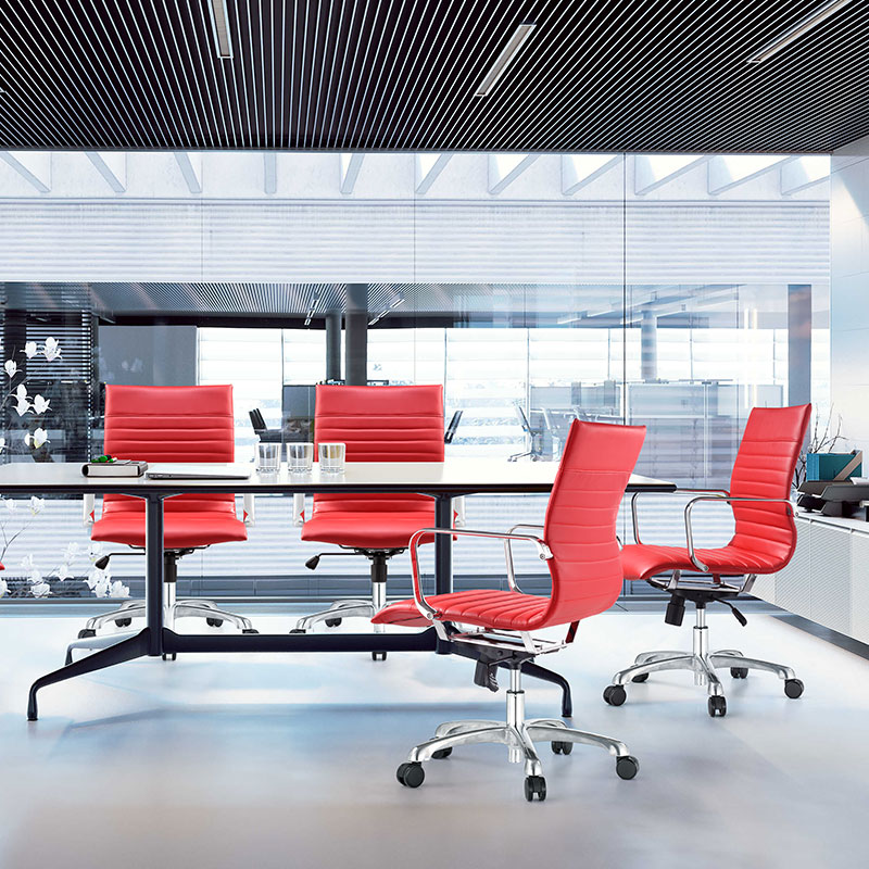 red leather conference room chair