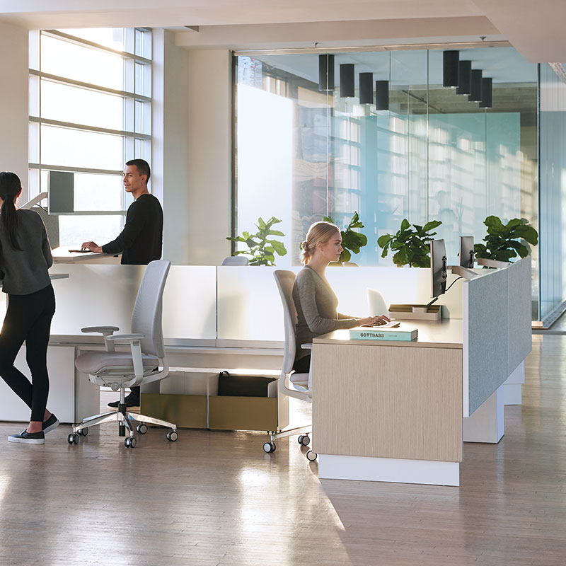 standing height workstations in office
